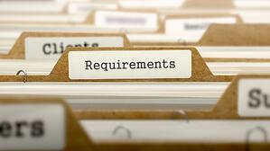 Requirements Concept. Word on Folder Register of Card Index. Selective Focus.